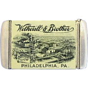 SOLD Wetherill & Brother adv, match safe, celluloid wrapped, White Lead; Philadelphia, PA