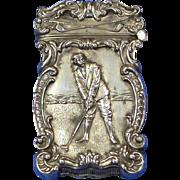 SOLD Golf motif match safe, sterling, c. 1900