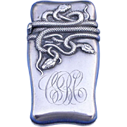 SOLD Entwined snake motif match safe, sterling, c. 1900, probably by Fairchild & Co.
