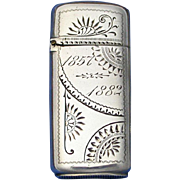 SOLD Sterling match safe with engraved designs, by Dominick & Haff, 1882