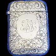 Engraved floral motif match safe, sterling by Battin & Co., Newark, NJ, #222