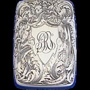 SOLD Engraved floral motif, match safe, sterling by Wm. Kerr, #3443