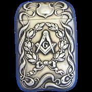 Masonic match safe, sterling, by L. Fritszche