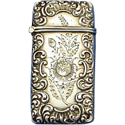 Engraved rose design match safe with rococo edge design, sterling