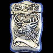 BPOE motif sterling match safe; Benevolent and Protective Order of Elks