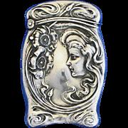 Art Nouveau motif match safe, sterling by Unger Bros, 1904 catalog item, #1627