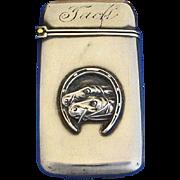 Race horse motif match safe, sterling, Good Luck, 1899