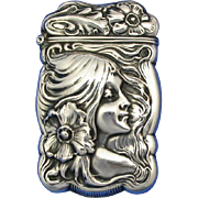 Young lady with flower in hair, match safe, sterling, c. 1900