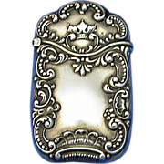 SOLD Sterling match safe by F. S. Gilbert, crown & scroll motif