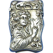 SOLD Young lady playing harp match safe, sterling by Eastwood Park Co.