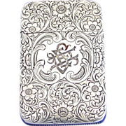 Foliate decorated match safe, sterling by Woods & Chatellier