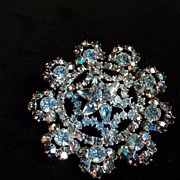 SALE Old Snowflake Rhinestone Pin Aqua Blue and AB Outstanding Shimmer