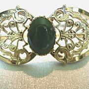 SALE Vintage Clamper Bracelet Filigree & Adventurine Cabochon