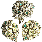 SALE Rare Signed 1950 Holly Craft Brooch & Earring Set Green & Citrine Rhinestones