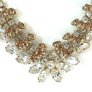 SALE Dazzling Vintage Clear & Topaz Layered Rhinestone Necklace