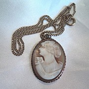 Vintage Cameo Shell Pendant and Necklace
