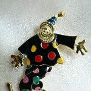SALE Cheerful Enameled Articulated Clown Pin Brooch