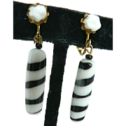 Vintage Miriam Haskell Zebra Stripe Art Glass Dangle Earrings