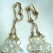 Beautiful Vintage Aurora Borealis Long Double Dangle Bead Earrings