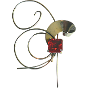 Vintage Art Deco Large Modernist Pin  Silver & Ruby Red Rhinestone