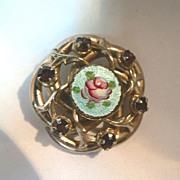 Vintage 1940's Gilloche Enameled Rose & Amethyst Rhinestone Pin