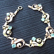 Vintage 14K Rose & Yellow Gold Bracelet w/ Aquamarine Stones