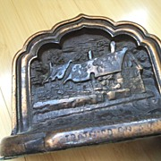 Vintage Cast Bookends with Cabin or Lodge Setting