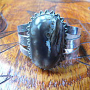 Vintage, Large Native American Bracelet Coin Silver and Stone