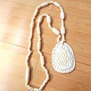 Vintage Hand-Carved Bone Necklace