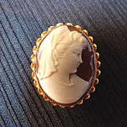 Vintage Carved Shell Cameo w/ Ornate 10K Solid Gold Frame Brooch or Pendant