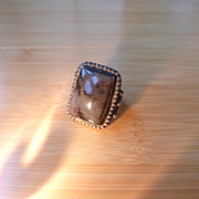 Old Native American Navajo Sterling Silver Picture Agate Ring