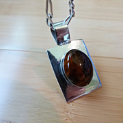 Vintage Chunky Mexico Sterling Silver Pendant Amber w/ Heavy Italian Silver Link Chain