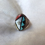 Vintage Native American Zuni Inlaid Sterling Silver Man's Ring