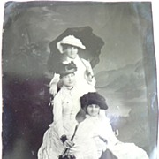 SALE Victorian 1/4 Size Tin Type Tintype Photograph 3 Ladies in Hats w. Parasols