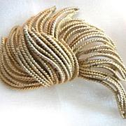 B.S.K. Designer Signed Large Gold-Toned Brooch Pin