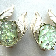 Vintage Poured Art Glass Green Flowers & Rhinestone Earrings by Emmons