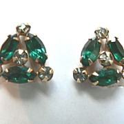 Designer Signed M & S Green & White Rhinestone Gold Fill Earrings