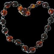 Vintage Genuine Bakelite Rootbeer Swirl Bead Necklace