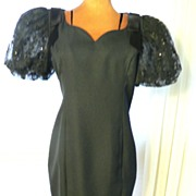 SALE 1980s Jessica Howard Sequin Sleeved Black Wiggle Cocktail Dress Sz 6