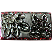 SALE FABULOUS Deeply Carved 1930's Black Floral Bakelite Brooch Pin