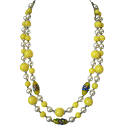 SALE Vintage Yellow Art Glass Bead & Pearl Necklace, Stunning!