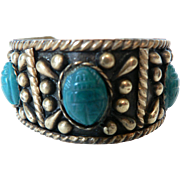 1920's Egyptian Revival Faience Scarab Wide Silver & Brass Cuff Bracelet Stamp Marked