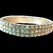 Aurora Borealis Rhinestone 3-Row Expandable Bracelet
