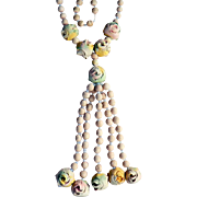 1930's Polymer Clay Rose French Wedding Beads with Tassel Drop Roses