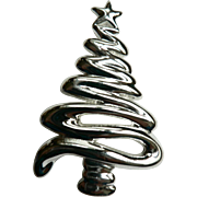 Vintage Modernist Style Silver Christmas Tree Pin / Brooch