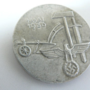 SOLD 1936 German Third Reich Labor Day Badge Pin Tinnie