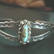 Vintage Bell Trading Post Sterling Silver & Turquoise Native American Cuff Bracelet