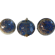 1940's Deep Blue & Gold Stone Flex Poured Glass Pendant & Button Clip-On Earrings Signed Italy