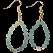 Vintage Jade Toned & Cultured Pearl Bead Dangle Loop Pierced Earrings