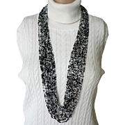 Vintage Joan Rivers Torsade Necklace Black White Gold Seed Beads